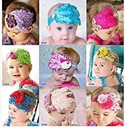 Baby Fashion Headband Feather Flower Cute Head Wear Band 9 Kind of Style (HD023 (9PCS))