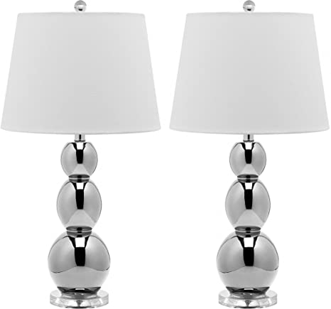 Safavieh Lighting Collection Jayne Three Sphere Glass Table Lamp, Silver, Set of 2