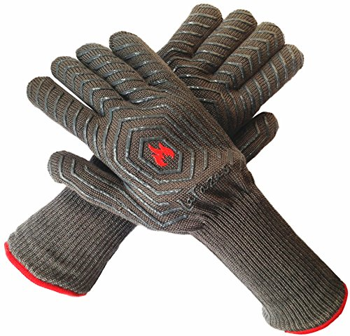 LaTazas Extreme Heat Resistant Grill Oven Mitts, Hot 932°F (EN407) 14 Inches Extra Long and Thick Protection BBQ Gloves for Grilling, Cooking, Fireplace, Barbecue and Pot holders with Grey, Set of 2 (Oven Mitt For Small Hands compare prices)