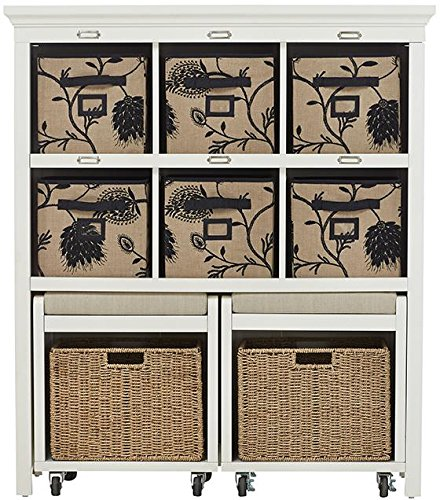 """Morgan Storage Cabinet With Pull Out Seating, 49""""Hx42""""Wx14""""D, White"""