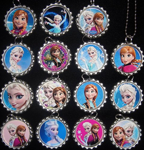 Queen Ana and snow frozen Disney flat bottle cap necklace pendant 15 pieces (A)