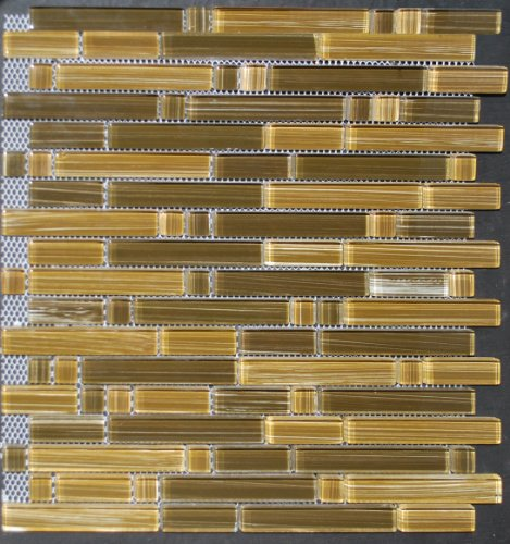 Glass Tile Bamboo Strip Chocolate Caramel Backsplash
