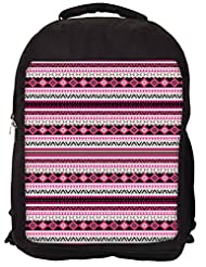 Snoogg Loud Aztec Pink And Black Backpack Rucksack School Travel Unisex Casual Canvas Bag Bookbag Satchel