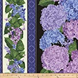 Timeless Treasures Hydrangea Border Stripe Black Fabric By The Yard