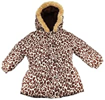 Pink Platinum Baby Girls 12-24M Khaki Cheetah Cinched Waist Puffer Jacket/Coat