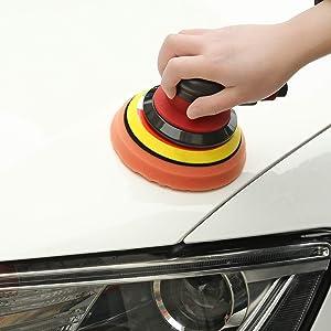 3 Polishing Pads Dual Action Pneumatic Palm Sander for Car Bodywork Air Powered Sanders with 6 Sandpapers 1 Towel and 1 Glove ZFE 5 Inch Air Random Orbital Sander /& Polisher