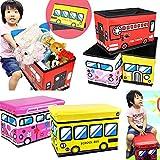 【選べる3タイプ】折りたたみ式 収納ボックス Mサイズ スツール ストレージ ボックス おもちゃ箱 車 (イエロー(スクールバス))