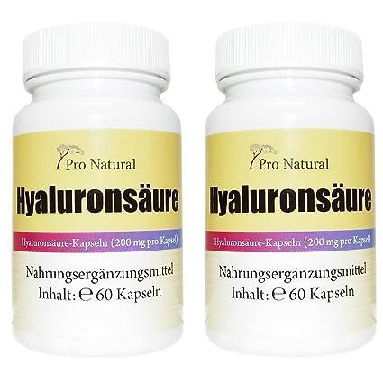 Hyaluronsäure Kapseln a 200mg - 2 Dosen 120 Vegane Kapseln hochdosiert, fermentiert - Gelenke, Haut, Anti Aging - Hyaluron Premium Qualität