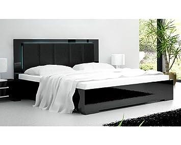 lit lumineux noir amelia amelia en 160 x 200 cm avec avec matelas memoire reveluxe sans. Black Bedroom Furniture Sets. Home Design Ideas
