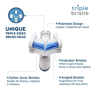 Triple Bristle Travel Sonic Toothbrush - AA Battery Electric Portable - Three Powerful Modes -Soft Nylon Bristles-Also For Autistic & Special Needs Adults and Kids (Triple Bristle Go) (Color: Triple Bristle Go)