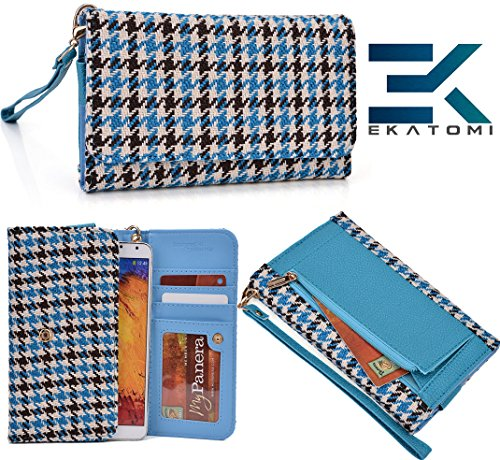 Wallet Phone Clutch Cover Phone Case- Black Baby Blue | Alcatel One Touch Pop C9 Ekatomi Screen Cleaner ™ front-1063997