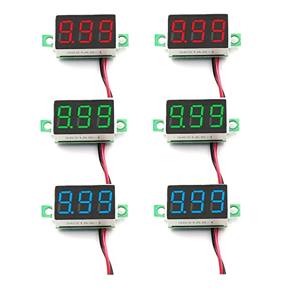DaFuRui 6pcs Mini Digital Voltmeter DC 4V-30V 0.36 Inch Two-Wire Mini Digital Voltmeter Voltage Tester Meter 3 Colors