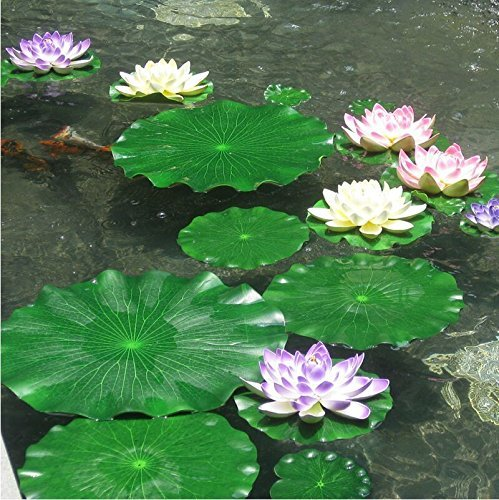Lightingsky artificial floating foam lotus leaves for Artificial fish pond