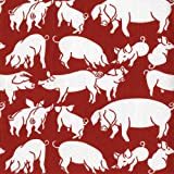 Entertaining with Caspari Oink Paper Luncheon Napkins, Red, Pack of 20