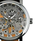ESS Mens Black Leather Luxury Skeleton Dial Hand-Wind Up Mechanical Wrist Watch WM119