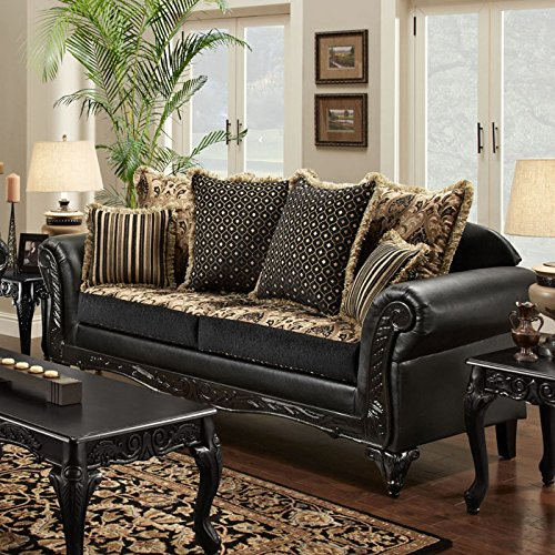 Gwendolyn Fabric & Faux Leather Sofa by Chelsea Home