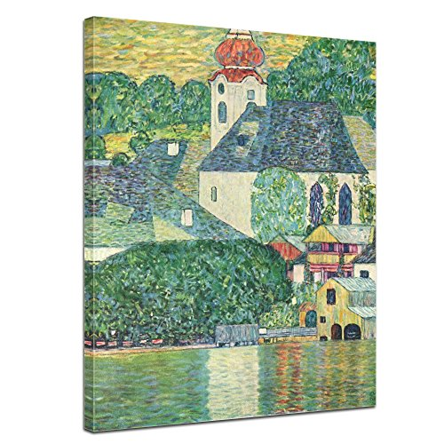 "Bilderdepot24 Leinwandbild Gustav Klimt - Alte Meister ""Die St. Wolfgang-Kirche"" 50x70cm - fertig gerahmt, direkt vom Hersteller"