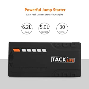 TACKLIFE T6 Car Jump Starter - 600A Peak 16500mAh, 12V Auto Battery Jumper with Quick-charge, Booster (up to 6.2l gas, 5.0l diesel), Portable Power Pack for Cars, Truck, SUV, UL Certified (Tamaño: T6)
