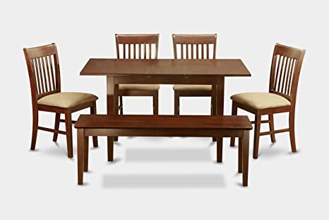 East West Furniture NOFK6C-MAH-C 6-Piece Dining Table Set, Mahogany Finish