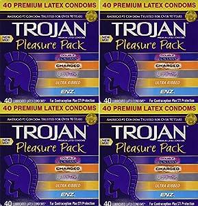 Trojan, Pleasure Pack Premium yXkDz Lubricated Latex Condoms 40 Count (Pack of 4) AdCoh