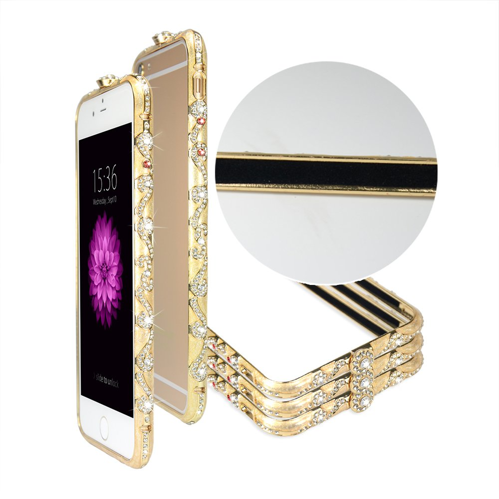 все цены на TFZ Iphone6 Case , Fashion Combined Design Crystals Diamond Sparkle Jeweled Metal Frame ,100% Handcrafted, Luxury Diamond Crystal Rhinestone Bling Metal Frame Bumper Case Cover for Iphone 6 онлайн