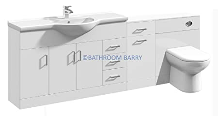 2150mm Modular High Gloss White Bathroom Combination Vanity Basin Sink Cabinet, Laundry Cupboard Unit, WC Toilet Furniture & BTW Pan