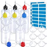 50ml Precision Tip Applicator Bottles, LEOBRO 8 PCS Squeeze Glue Applicator Bottles with 8 Fine Needle Tips, for Acrylic Painting, Quilling, Alcohol Ink, Include 28 PCS Sticker, 8 PCS Mini Funnel (Color: 8pcs 50ml Applicator Bottles with 4 color lids, Tamaño: 50ML)