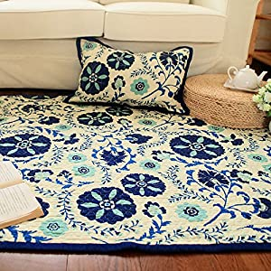 Ustide large living room carpet blue floral rug cotton for Living room rugs amazon