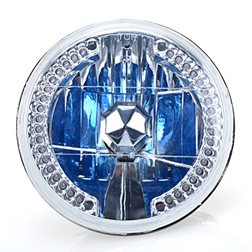 "7"" Chrome Crystal Round Amber Led Headlight Angel Eye Turn Signal Halogen H4 Light Bulb"