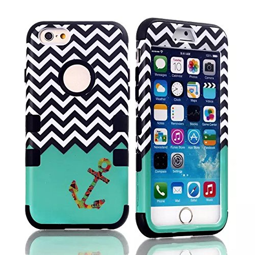 Queens® Three Hard Piece Wave Anchor Chevron Hybrid Impact 3In1 Armor Combo Rugged Hard Case Cover For Apple Iphone6 4.7 Inch (1-Black)