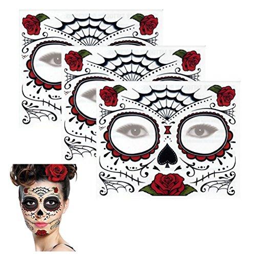 Sugar Skull Temporary Tattoo Rose Design (3 Tattoo Kits) (Tattoo Skull Face)