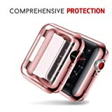 Smiling Apple Watch 4 Case with Buit in TPU Screen Protector 40mm- All Around Protective Case High Definition Clear Ultra-Thin Cover Apple iwatch 40mm Series 4 (Rose, 40mm) (Color: rose, Tamaño: 40mm)