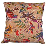 "16"" INDIAN BIRD KANTHA FLORAL THROW PILLOW CUSHION COVER ETHNIC VINTAGE ART"