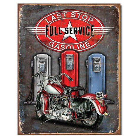 Legends Last Stop Full Service Gasoline Distressed Retro Vintage Tin Sign