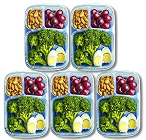 Orgalif Bento Lunch Box Container Food Storage 3-compartment Eco Friendly for Kids, Reusable Lunchbox Made with High Quality Plastic Microwavable Dishwasher Safe Bpa Free Perfect for School and Office (Set of 5) from ORGALIF