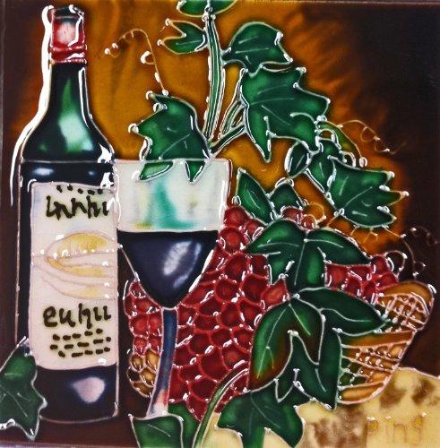 Continental Art Center SD-050 4 by 4-Inch Dark Wine Set Ceramic Art Tile
