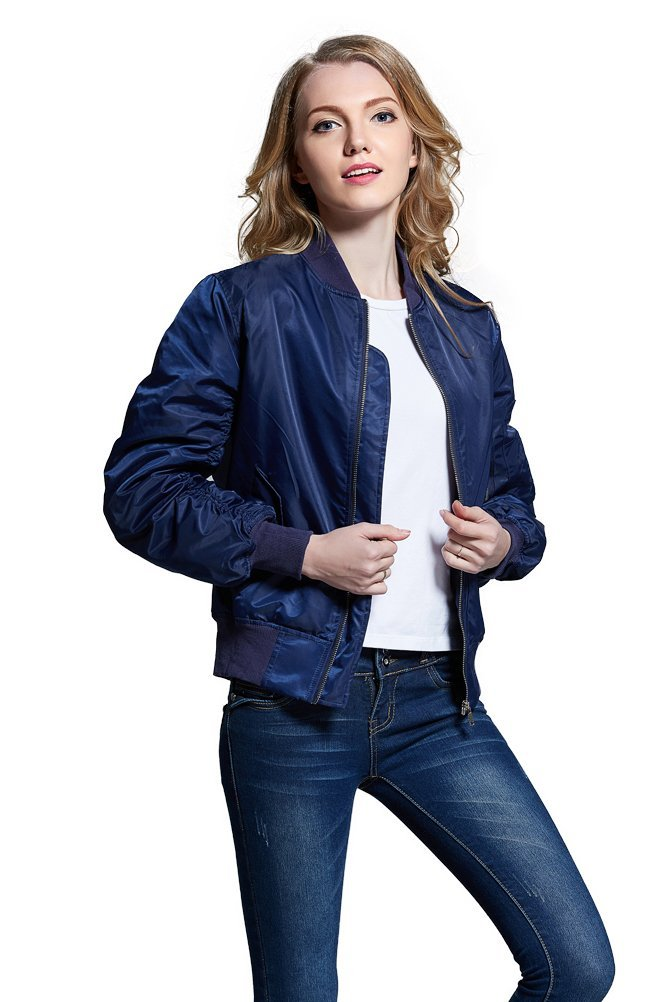 Women Vintage Bomber Jacket Classic Zip up Biker Jacket Stylish Padded Coat 0
