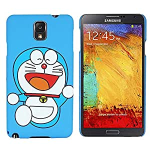 Heartly Cartoon Printed Design High Quality Hard Bumper Back Case Cover For Samsung Galaxy Note 3 N9000 - Doraemon Sky Blue