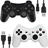Wireless Controllers for PS3 Playstation 3 Dual Shock, Bluetooth Remote Joystick Gamepad for Six-axis with Charging Cable,Pack of 2 (White and Black) (Color: Black and White)