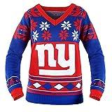 New York Giants NFL Women's Big Logo V-Neck Ugly Christmas Sweater