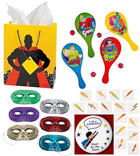 [Birthday Party Favors SUPERHERO Supply Pack bundle Enough for 12 Boy's or Girl's (12 Gift Bags, 12 Wooden Paddleballs, 24 metallic masks, 72 Lightning Bolt Tattoos, bonus] (Superheros And Villians)