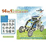 iLoonger® 14 in 1 Solar Robot Assembly Rechargeable Kids Toy Kit Educational Gift a Wagging-tail Dog Running Beetle Walking Crab Surfer Speedster Zombie Chaser