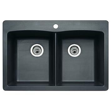 Blanco 511-602 Diamond Equal Double Bowl Kitchen Sink, Anthracite Finish