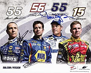 *4X AUTOGRAPHED2013 Clint Bowyer Mark Martin Martin Truex Jr. Michael Watrip MWR... by Trackside Autographs