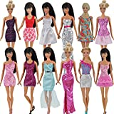 Toy - E-TING 5pcs Fashion Mini Dress For Barbie Doll Handmade Short Party Dresses Clothes