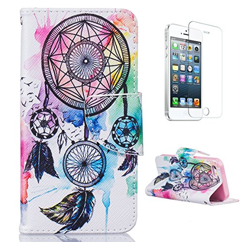 casehome-premium-pu-leather-iphone-se-5s-5-case-with-free-screen-protector-book-style-folio-flip-mag
