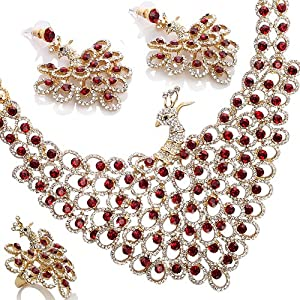Red Peacock style Wedding Jewellery Set, Necklace