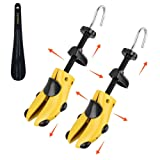 Eachway Pair of Professional 2-Way Premium Shoe Stretcher Tough Plastic Shoe Trees,Adjustable Length & Width Durable Shoe Shaper for Men and Women (Large) (Color: Yellow, Tamaño: Large)