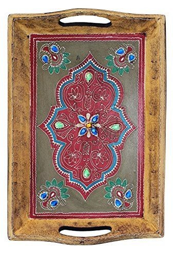 Cyber Monday Sale on SouvNear Handmade Wooden Decorative Tray - 16 x 10 Inch Antique-Look Hand-Painted Wood Tray - Centrepiece for Table - Kitchen & Table Decor Accessories (Wooden Vanity Tray compare prices)