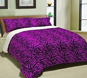 Pink Zebra Down Alternative Sherpa Comforter, Queen Borrego Blanket